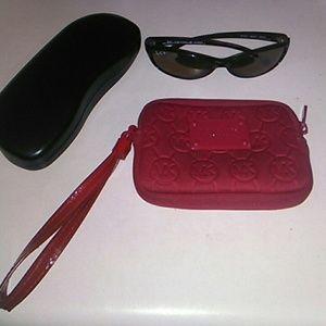 Rayban RB4014 Raider Sunglasses w/ MK Red Wristlet
